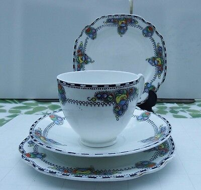 """Art Deco Royal Albion China """"carnival"""" 2 Cups, 1 Saucer, 3 Plates."""