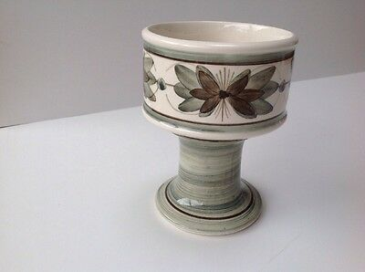 Vintage Hand Painted Vase Or Candle Holder By Jersey Pottery