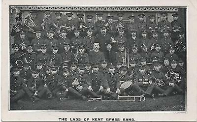 Interesting c1904 PC: LADS OF KENT Military Brass Band