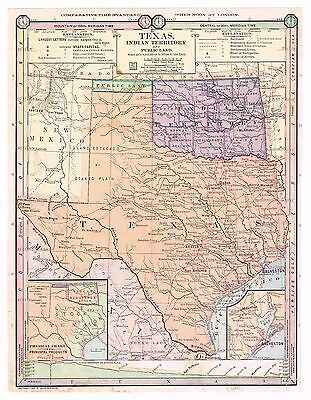 Texas 1885 Colored Map Indian Territory Comparative Time Railroad Steamship