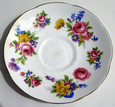 Vintage Adderley Bone China Floral Saucer. Flowers Roses Daffodil. Pretty