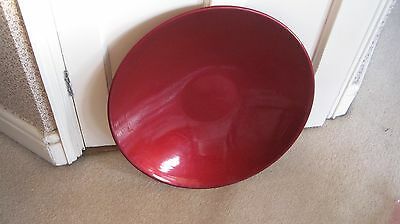 Large Metal Fruit Dish: Lacquered in a Rich Shiny Red