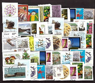 Iceland Lot of 50 Most Recent Stamps on Paper Kiloware