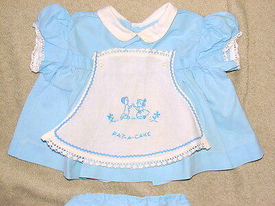 ADORABLE VINTAGE 2 piece Baby Girl's Dress Approximate 6 mo-PAT A CAKE APRON