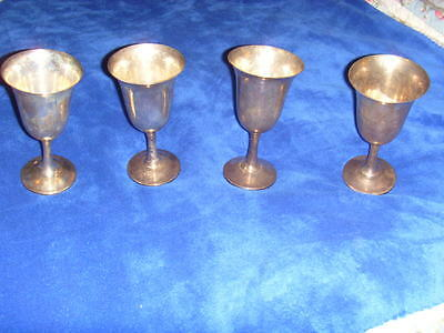 Lot Of 4 Wallace Sterling Silver Wine Water Goblet Cups #14 No Monogram 685.2g