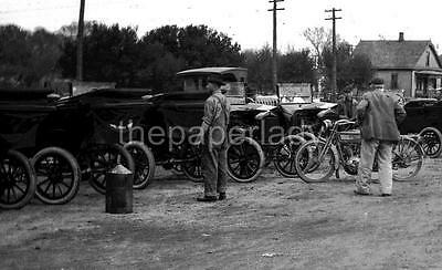Early Cars in Parking Lot Antique Photo Negative Motorcycles Auto Models OLD