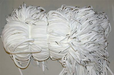 """Shoe Laces, 300+ Pair, 36"""""""", Flat, White with Silver Metallic Color Aglet"""