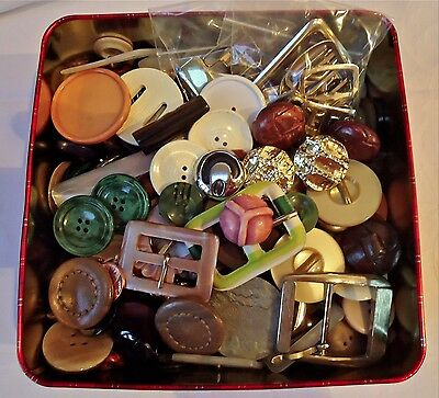 Tin of vintage larger coat buttons and buckles Art Deco sets plastic leather