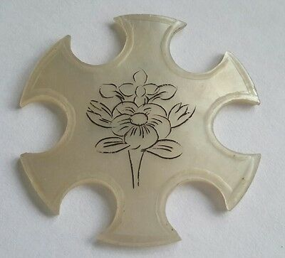 Antique victorian 1890s mother of pearl carved flowers thread winder sewing tool