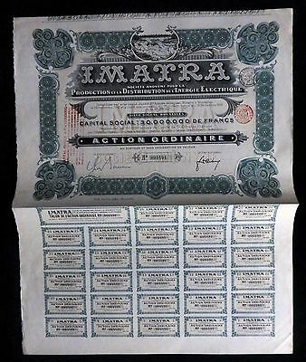 Belgium Bruxelles Imatra Electricity Energy 1912 Share Certificate+Coupons(F1893