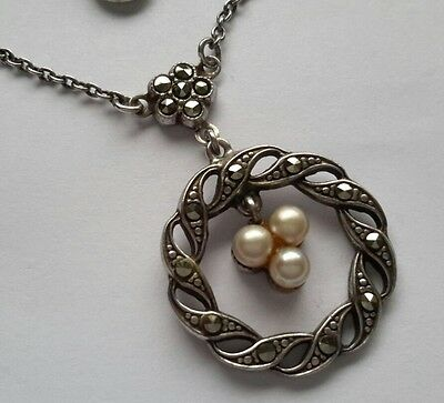 Antique edwardian1900's silver marcasite seed pearl pendant necklace.