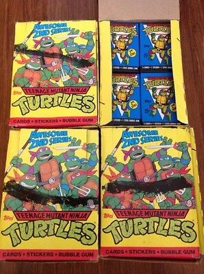Teenage Mutant Ninja Turtles 1990 2nd Series Topps Cards - Lot of 4 Boxes