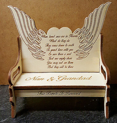 Angel Wing Memorial Decoration Plaque, Personalised Bench, for year round use