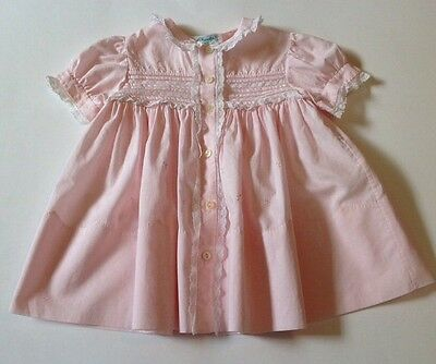 Vintage Cherubs Pink Baby Dress SZ 12 Mos