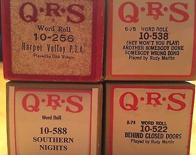 Lot of 4 QRS Piano Rolls - 1970s & 80s Country Songs and Pop Standards Great Set