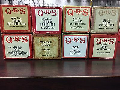 Lot of 8 QRS Piano Rolls - Popular Songs and Standards - Spanning Years..Great!