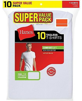 Hanes Mens T-Shirts 10-Pack WHITE TAGLESS Comfort Soft Crew Neck 100% Cotton