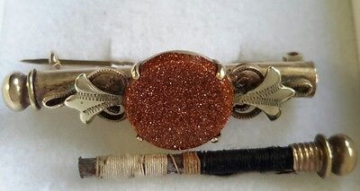Antique victorian 1890's rolled gold nanny sewing thread needle holder brooch