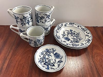 BLUE DANUBE china/pattern Coffee Cups Bowls 8 PIECE SET