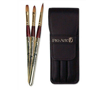 Pro Arte Artists Leather Wallet Travel Set - 3 Retractable Watercolour Brushes