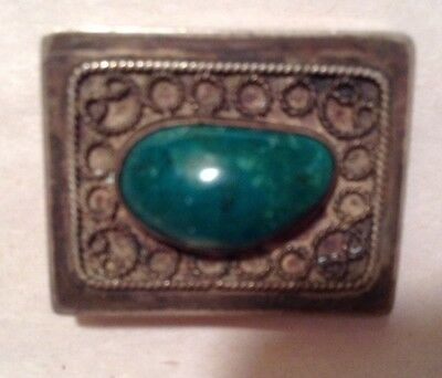 Vintage Sterling Silver Box with Large Chrysocolla Stone - Made in Israel