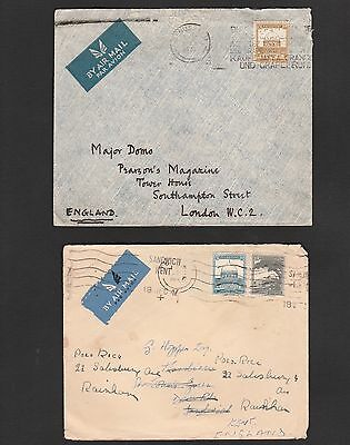 Palestine British Mandate Period: Pair Of Airmail Covers To England