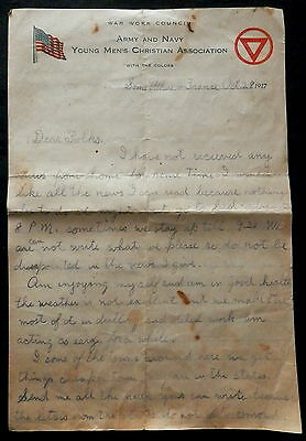 WAR WORK COUNCIL Letterhead ARMY AND NAVY YOUNG MENS CHRISTIAN ASSOC Used 1917