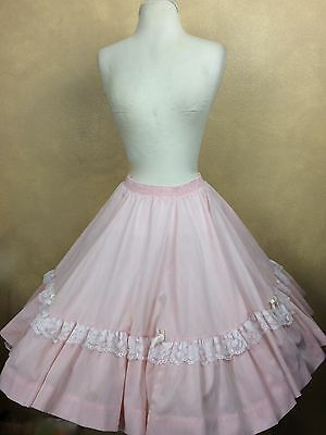 Square Dance Skirt Pink w White Stripes Ruffled Lace Trim