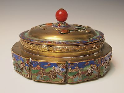ANTIQUE CHINESE ENAMEL ROUND DESK BOX Early 1900's Qing Dynasty / Republic