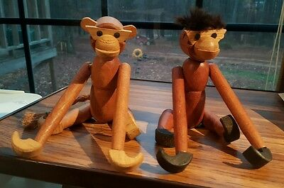 2 Vintage Wooden Hanging Monkies Japan 7-1/2""