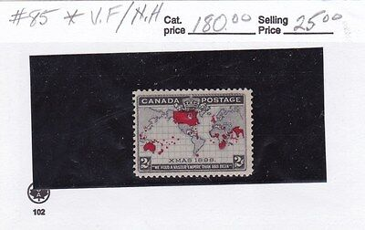 Canada #85, Mint, Very Fine, Never Hinged Map Stamp, Cat 180.00