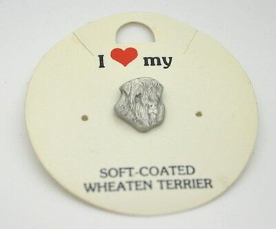 Rawcliffe Pewter 1983 SOFT COATED WHEATEN TERRIER Pin Brooch DOG RARE NIP NEW