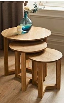 Solid Oak Nest Of Tables 3 Pc Round Elegant Tables Home Office Living Room