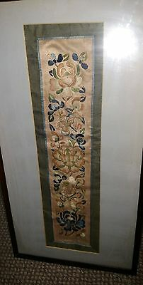 Chinese Embroidered Silk Tapestry in Frame