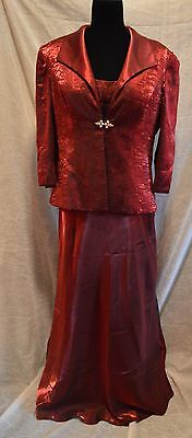 Mother of the Bride Alex Evening Dress w/ Jacket  Rich Burgundy Red   Size 10