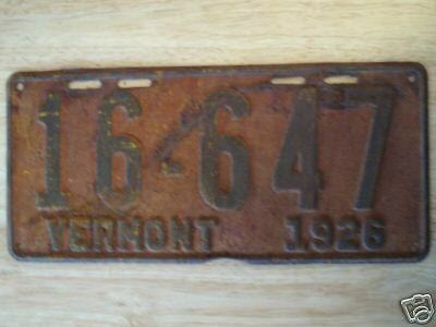 1926 Vermont  License Plate 16-647