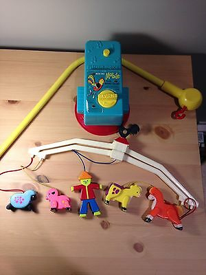 Vintage 1973 Fisher Price Music Box Mobile Farmer Farm Animals Rooster Cow Pig