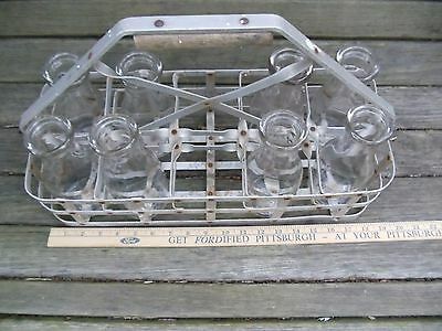 Antique Aluminum Milk Bottle Carrier with 8 Matching Pint Bottles