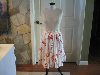Vintage Red & White Square Dance Skirt Full Circle Printed Western Cowgirl Skirt