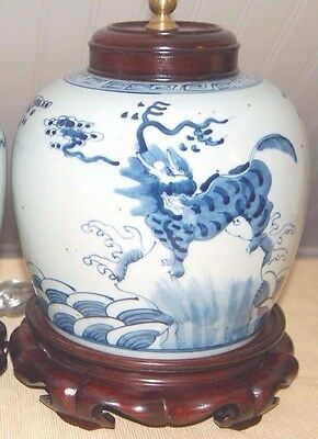 Chinese Export GINGER JAR Vase Lamp Quilan Porcelain Pottery #2 of PAIR Foo Dog