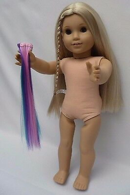 American GIrl doll Julie (nude) with Set of 3 Hair Extensions