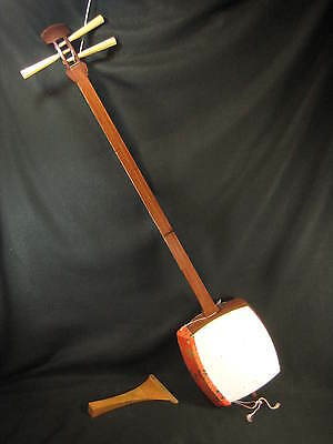 Vintage Japanese  Shamisen Stringed Musical Instrument Complete  With Extras