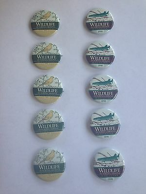 Lot of 10 Wildlife in North Carolina Magazine Pins / Buttons 1993 and 1998