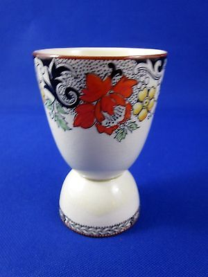 Vintage Porcelain Egg Cup Wood & Sons Norbury Black Orange Floral