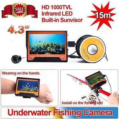 "15M 4.3"" LCD Monitor Fish Finder IR LED Night Vision Underwater Fishing Camera"