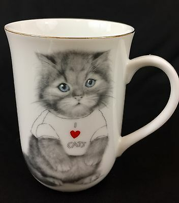 Otagiri Jonah's Workshop I LOVE CATS T-Shirt Gray Kitten Porcelain Coffee Mug