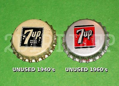 2 DIFF SEVEN-UP 7UP SEVEN UP SODA VINTAGE 1940 & 60's POP CORK UNUSED BOTTLE CAP