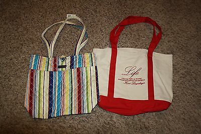 Longaberger Homestead Large Tote Lot of 2  Life Quote Signed & Striped