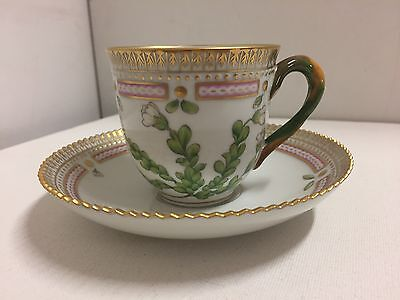 "Royal Copenhagen ""Flora Danica"" Coffee Cup And Saucer First Quality- Flawless"