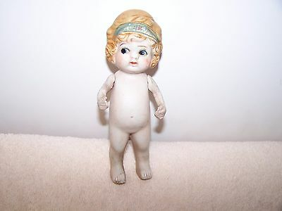 """Vintage  Bisque Doll Needs cleaning  6"""" Tall Made In Japan"""